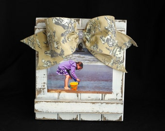 Barnwood Picture Frame Handmade 4x6 5x7 Picture Frame with Toile Ribbon Shabby Chic