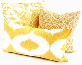 Duralee Yellow Ikat Sofa Decorative Pillow Cover 12x24, 14x20, or 18x18, 20x20, 22x22, Eurosham, Throw pillow, Accent pillow, Toss Pillow