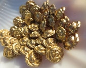 """Gold Flower Buttons Shank Metal 5/8"""" Roses 16mm-24 pieces"""