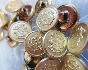 "Gold Metal Buttons 5/8"" Heraldry Crest Nautical 16mm-24 pieces"