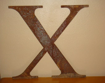 Vintage Metal Rusty Sign Letter X