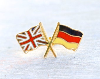 British and German Flags - Vintage Badge or Lapel Pin