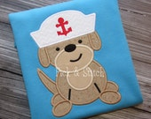 Sailor Puppy Dog Appliqué Design Machine Embroidery INSTANT DOWNLOAD