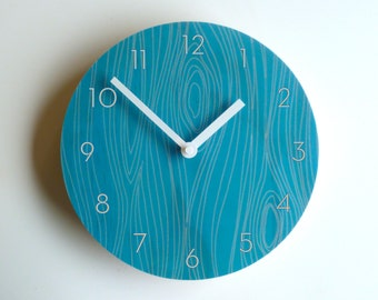 Objectify Faux Bois Blue Wall Clock With Numerals - Medium Size