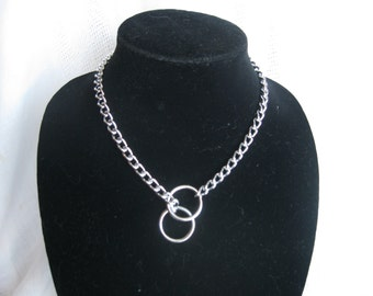 """18"""" Obedience Choke Chain Necklace, Silver"""