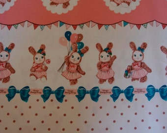 SALE Urason Dreamy Bunny Panel Kawaii Fabric in Pink by Kokka (Half Yard)