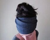 DENIM BLUE Head Scarf - Bohemian Yoga Hair Wrap - Womens Hair Accessories - Heather Blue Headband - EcoShag Hair Accessories