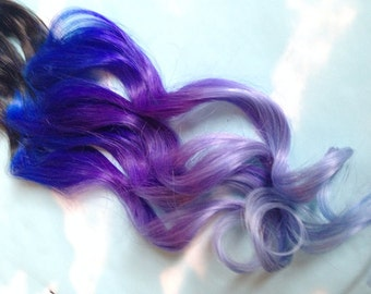 Purple and Blue Hair Clip Extensions, Blue Ombre Hair, Purple Ombre Hair, Weave, Human Hair, Full Set, Bundle, Lavender, Hippie Hair, Dread