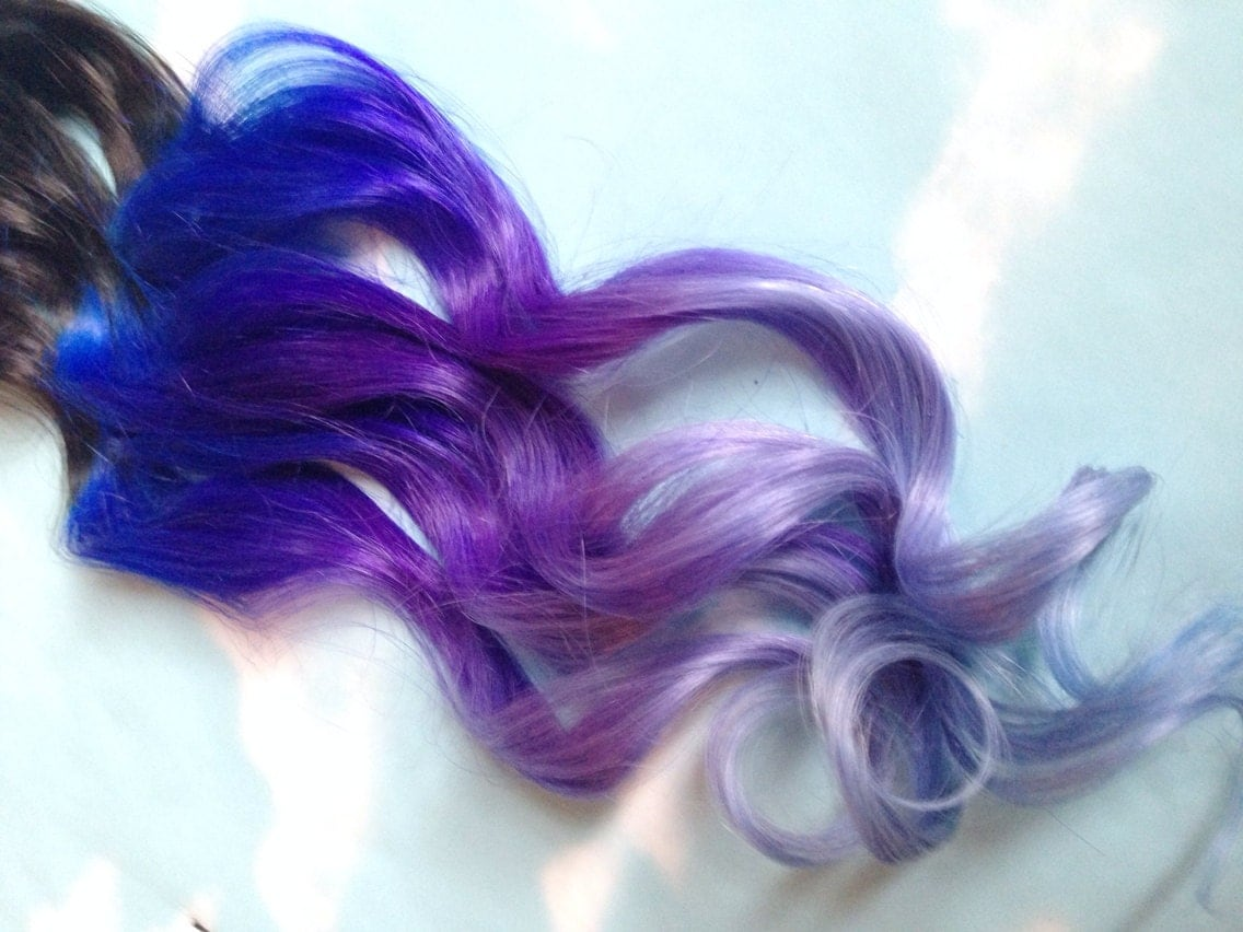 Purple and blue hair clip extensions blue ombre hair purple zoom pmusecretfo Choice Image