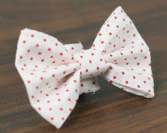"Ready To Ship Medium 5/8"" Dog Bow Tie - Red Peppermint Polka Dot no collar"