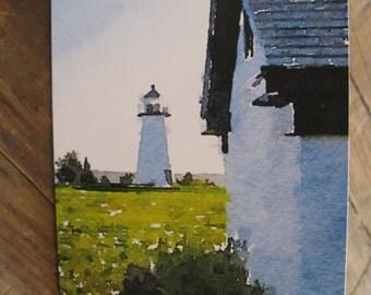 Greeting Card Ned's Point Lighthouse, Mattapoisett, Massachusetts , Full Size Card Blank Inside