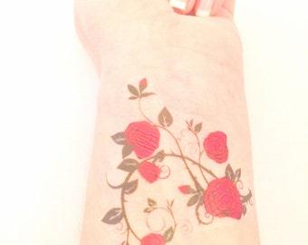 Rose Tattoo - Floral Temporary Tattoo - Flower Tattoo - Floral Rose Tattoo