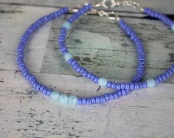 Periwinkle/Light Blue Beaded Bracelets