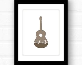 Nashville art print | Nashville wall art | Nashville gift art print | guitar wall art | Nashville Tennessee home decor | Music City art