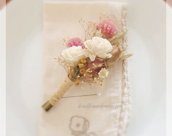 Vintage Wildflower Collection - Pin Corsage - Natural Dried and Preserved Flowers Wedding Bouquets Mother of the Bride