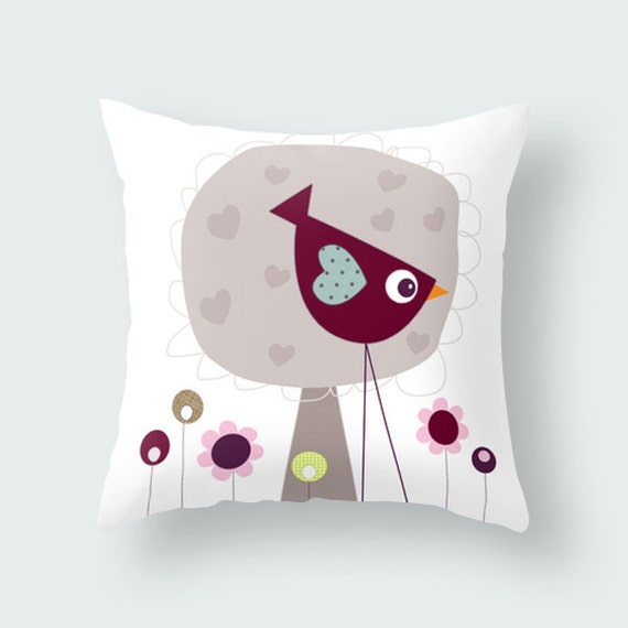 Items similar to Cute bird on a decorative kids throw pillow, animal pillow covers, nursery ...