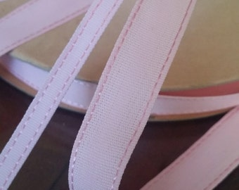 "1/4"" or  1/2"" Vintage Narrow Pink Woven Ribbon Trim with Stitches embellishment Great for Doll, Baby, Hair bows, etc..."
