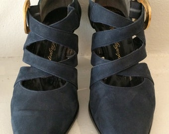 Authentic Karl Lagerfeld Navy Suede Shoe Size 7 1/2 M