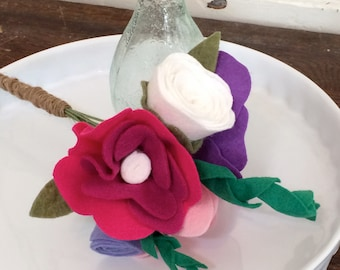 Felt Flower Bouquet Purple Pink Red and White