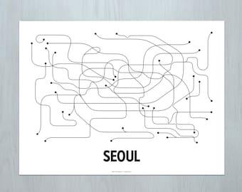 Seoul Lithograph - White/Black