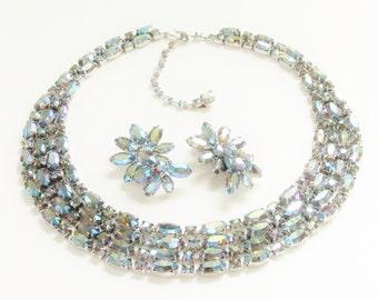 Vintage Sherman Blue Rhinesone Necklace Earrings 1960s Statement