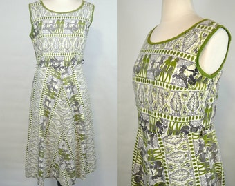 1960s Green and Purple Egyptian Novelty Print Sleeveless Dress by Brentwood