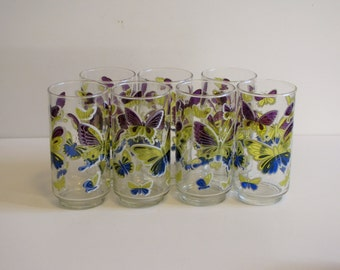 Vintage Set of 7 -  Mid Century Blue Yellow Purple Butterfly Tumblers / Glasses / Barware