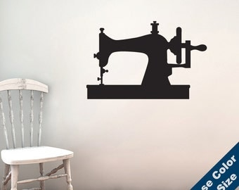 Vintage Sewing Machine Wall Decal - Crafts Vinyl Sticker