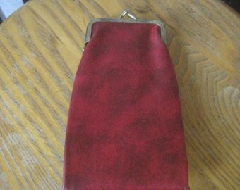 Vintage 1960s 1970s Wallet Folding Bill Fold Change Purse Red Vinyl Small Clutch Bag