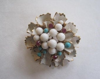 Vintage 1960s Brooch Enamel Pin Faux Gem Stones Turquoise Blue White Red Rubies Glass Gold Goldtone