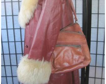 Vintage 1960s 1970s Purse Hippie Cognac Whiskey Brown Leather Shoulder Bag by Cobblers Classic Caramel Handbag Zippers Criss Cross Design