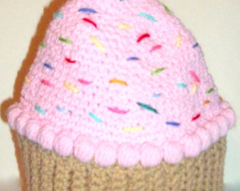 PINK CUPCAKE HAT   Strawberry Toddlers-4 years   Crochet