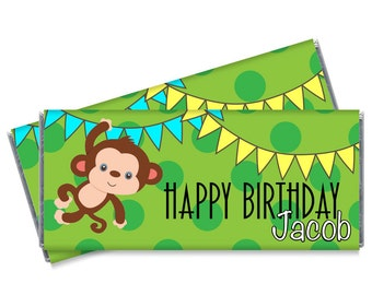 Swinging Monkey Personalized Candy Bar Wrappers - Safari Candy Bar Wrapper Favors - Set of 12