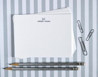 Customizable  Letterpress Notecards - Initials & Name - Set of 20