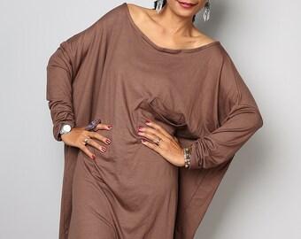 Latte Tunic Dress / Short Dress / Blouse - Short Comfortable Long Sleeve Dress : Urban Chic Collection No.7