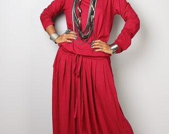 Wine Red Dress -  Long Sleeved Red Maxi dress : Autumn Thrills Collection No.1s  (Best Seller)