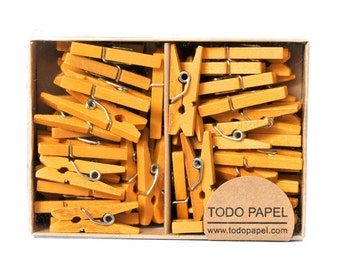Yellow mini clothespins. Sunshine 1 inch wood pegs Miniature gift enclosure embellishment for Spring