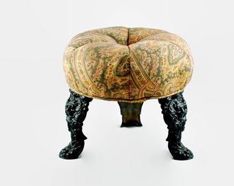 Antique Round Cast Iron Three Legged Upholstered Footstool with Lion Head Motif