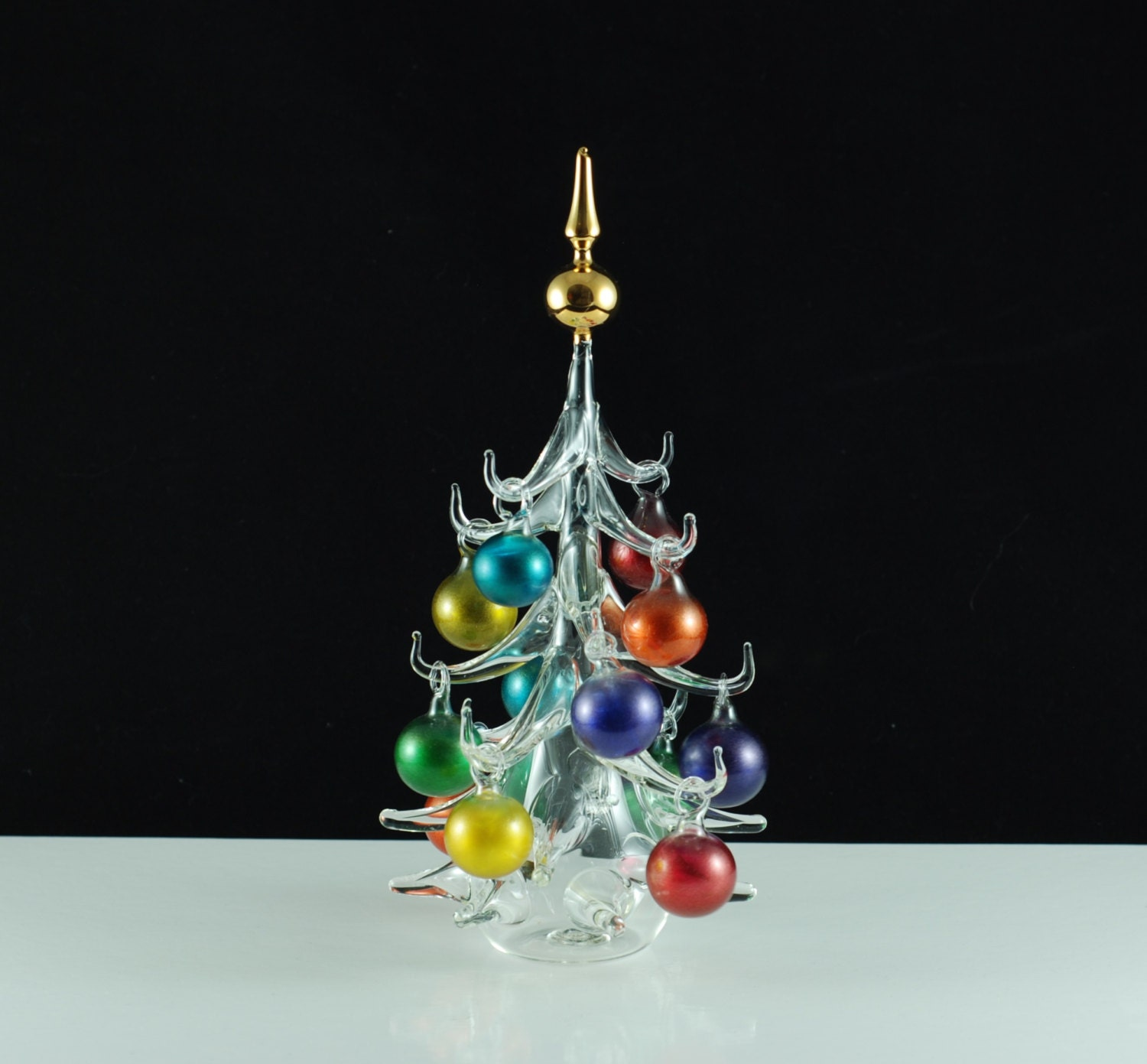 Hand Blown Glass Christmas Tree Ornaments : Vintage parise vetro of italy hand blown glass tabletop