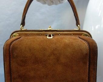 LEDERER  50s Suede Handbag w/special Compartments