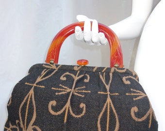 INGBER 40s50s Handbag with Lucite Handle and Clasp