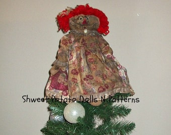 Extreme Primitive Raggedy Valentine  Anne Cloth Doll