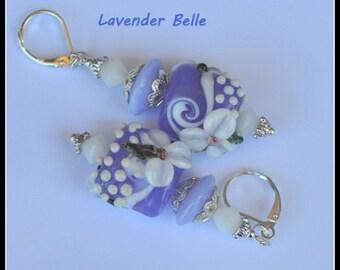 Lavender and White Earrings,Lampwork Floral Earrings,Dangle Earrings,Pastel Earrings,Bead Earrings,Glass Earrings - LAVENDER BELLE