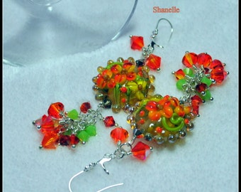 SHANELLE - Handmade Lampwrk and Sterling Silver Earrings,Orange Lime Green and Yellow Earrings