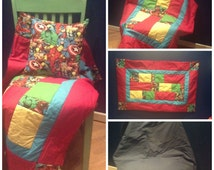 Patchwork Quilt Throw made from Marvel Superhero Fabric
