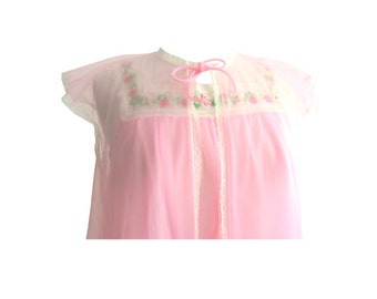Cotton Candy Pink Chiffon Embroidered Babydoll and Jacket Set Size Small