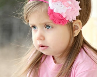 Valentines Dark pink, light pink and white shabby headband with a fancy center embellishment. Infant, toddler, child, adult sizes