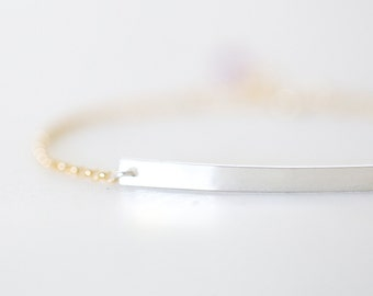 Skinny Bar Bracelet - 14k gold filled or sterling silver thin bar strip bracelet, sleek modern simple everyday jewelry, great for layering