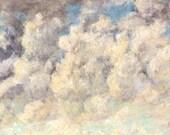 Renaissance Clouds Painting Background Cracked Craquelure Crazed Patina Texture - Digital Photo Image Vintage Antique - Instant Download