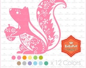 12 Colors Squirrel Clipart. Birthday Card, Paper Cut DIY Handmade Crafts Projects. Personal and Small Commercial Use. BP 0938